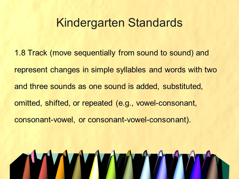 Kindergarten Standards 1.8 Track (move sequentially from sound to sound) and represent changes in simple syllables and words with two and three sounds
