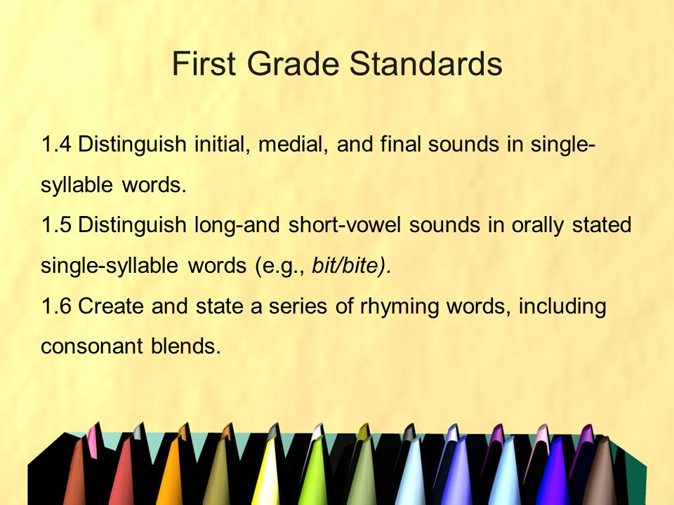 First Grade Standards 1.4 Distinguish initial, medial, and final sounds in single- syllable words. 1.5 Distinguish long-and short-vowel sounds in oral
