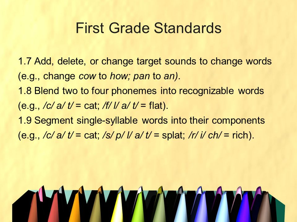 First Grade Standards 1.7 Add, delete, or change target sounds to change words (e.g., change cow to how; pan to an). 1.8 Blend two to four phonemes in