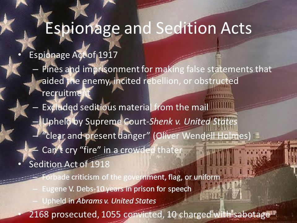 Espionage and Sedition Acts Espionage Act of 1917 – Fines and imprisonment for making false statements that aided the enemy, incited rebellion, or obs