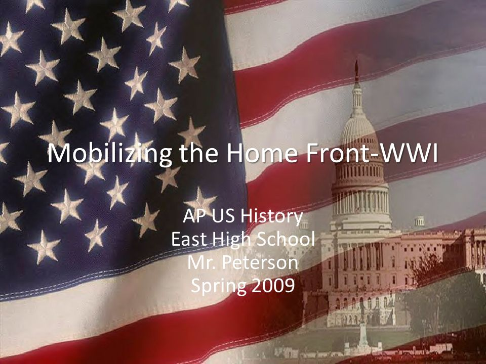 Mobilizing the Home Front-WWI AP US History East High School Mr. Peterson Spring 2009