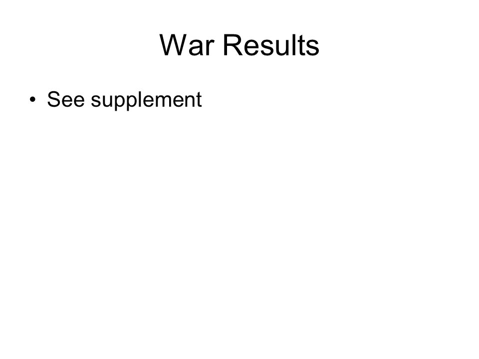 War Results See supplement