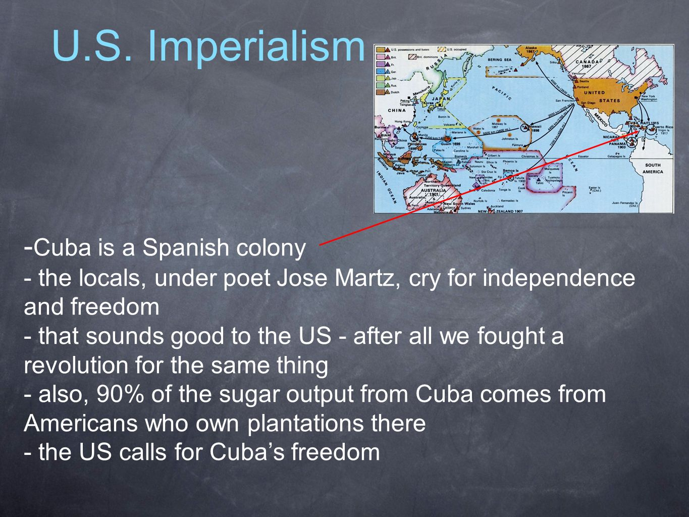 U.S. Imperialism - Cuba is a Spanish colony - the locals, under poet Jose Martz, cry for independence and freedom - that sounds good to the US - after