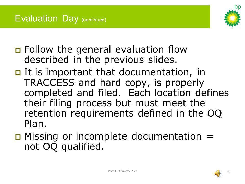 Rev 5 - 5/21/09 HLA 27 Evaluation Day Verify that it is safe and operationally prudent to perform the evaluation at the scheduled time. An evaluation