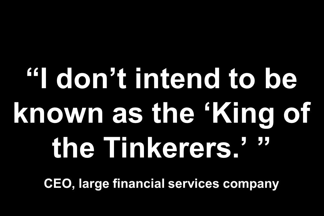 I dont intend to be known as the King of the Tinkerers. CEO, large financial services company
