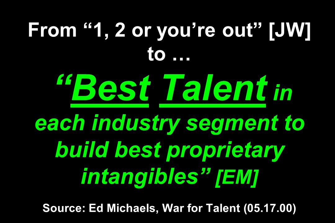 From 1, 2 or youre out [JW] to …Best Talent in each industry segment to build best proprietary intangibles [EM] Source: Ed Michaels, War for Talent (05.17.00)