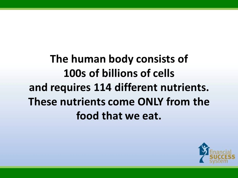 The human body consists of 100s of billions of cells and requires 114 different nutrients. These nutrients come ONLY from the food that we eat.
