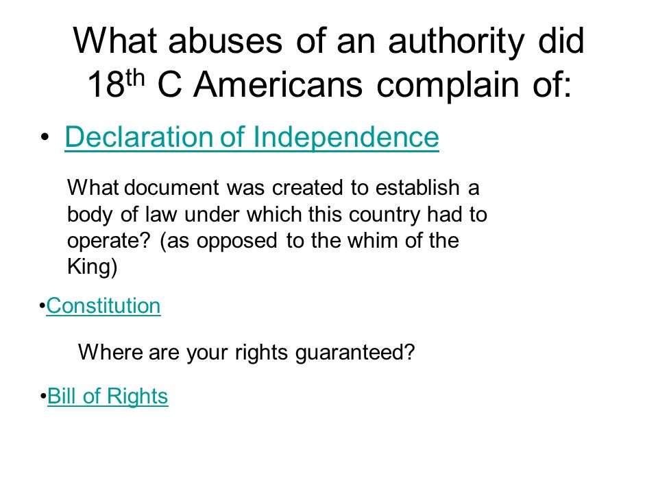 What abuses of an authority did 18 th C Americans complain of: Declaration of Independence What document was created to establish a body of law under