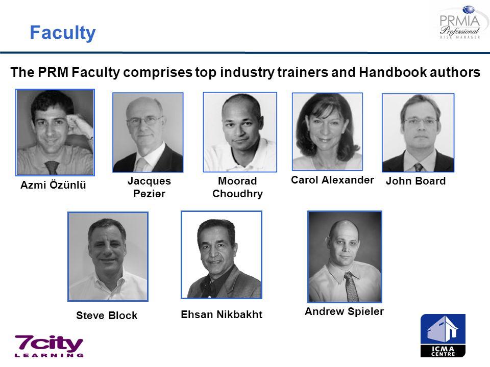 Faculty The PRM Faculty comprises top industry trainers and Handbook authors Carol Alexander John BoardJacques Pezier Moorad Choudhry Azmi Özünlü Andr