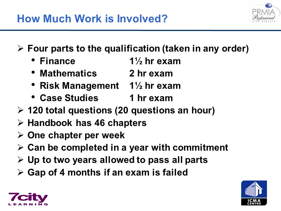 How Much Work is Involved? Four parts to the qualification (taken in any order) Finance1½ hr exam Mathematics2 hr exam Risk Management1½ hr exam Case