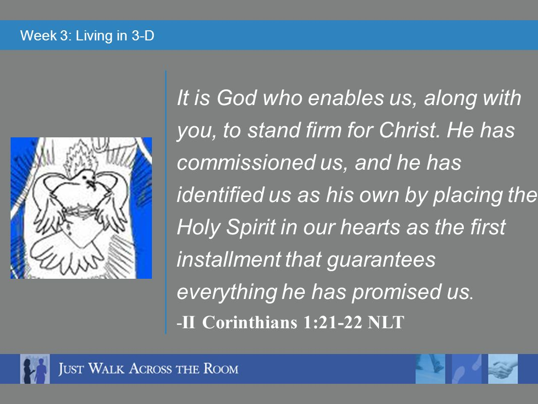 Week 3: Living in 3-D It is God who enables us, along with you, to stand firm for Christ.