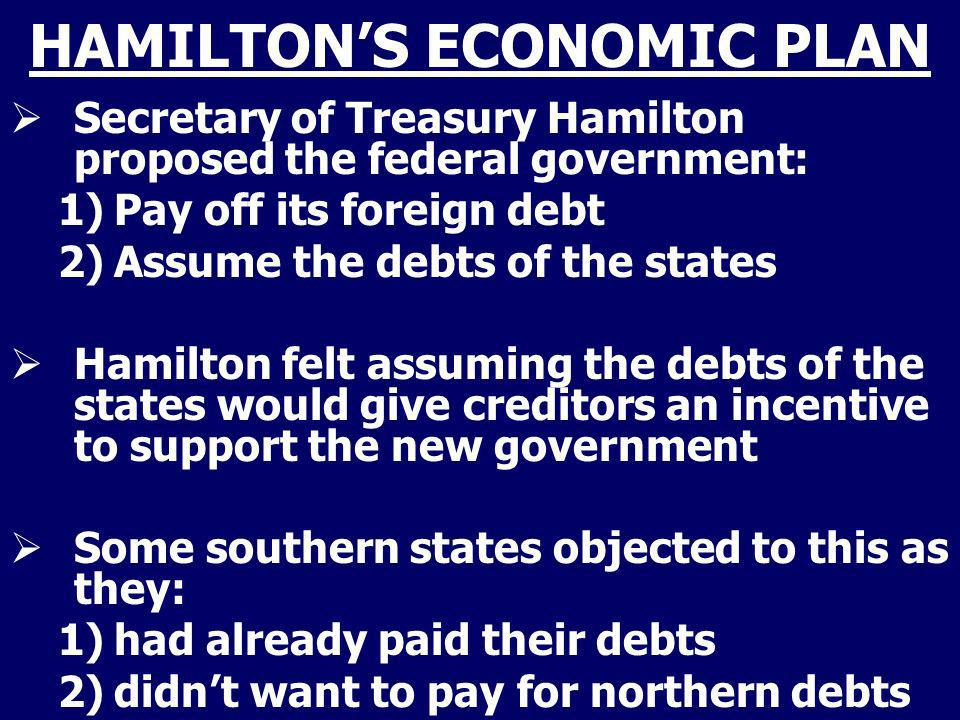 HAMILTONS ECONOMIC PLAN Secretary of Treasury Hamilton proposed the federal government: 1)Pay off its foreign debt 2)Assume the debts of the states Ha