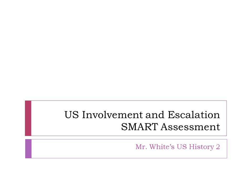 US Involvement and Escalation SMART Assessment Mr. Whites US History 2
