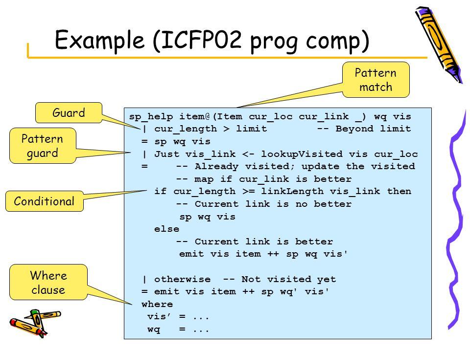 Example (ICFP02 prog comp) sp_help item@(Item cur_loc cur_link _) wq vis   cur_length > limit -- Beyond limit = sp wq vis   Just vis_link <- lookupVis