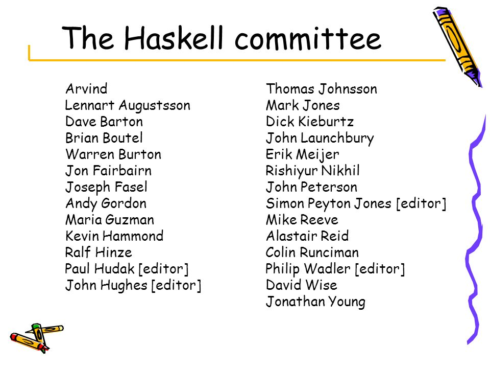 The Haskell committee Arvind Lennart Augustsson Dave Barton Brian Boutel Warren Burton Jon Fairbairn Joseph Fasel Andy Gordon Maria Guzman Kevin Hammo