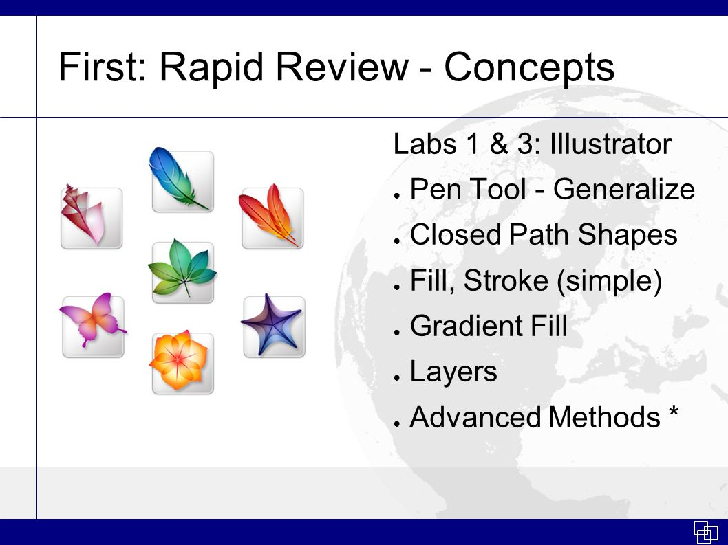 First: Rapid Review - Concepts Labs 1 & 3: Illustrator Pen Tool - Generalize Closed Path Shapes Fill, Stroke (simple) Gradient Fill Layers Advanced Me