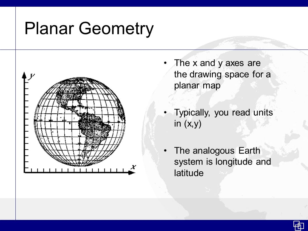 Planar Geometry The x and y axes are the drawing space for a planar map Typically, you read units in (x,y) The analogous Earth system is longitude and