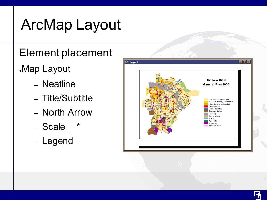 ArcMap Layout Element placement Map Layout – Neatline – Title/Subtitle – North Arrow – Scale* – Legend