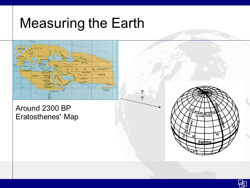 Measuring the Earth Around 2300 BP Eratosthenes' Map ?