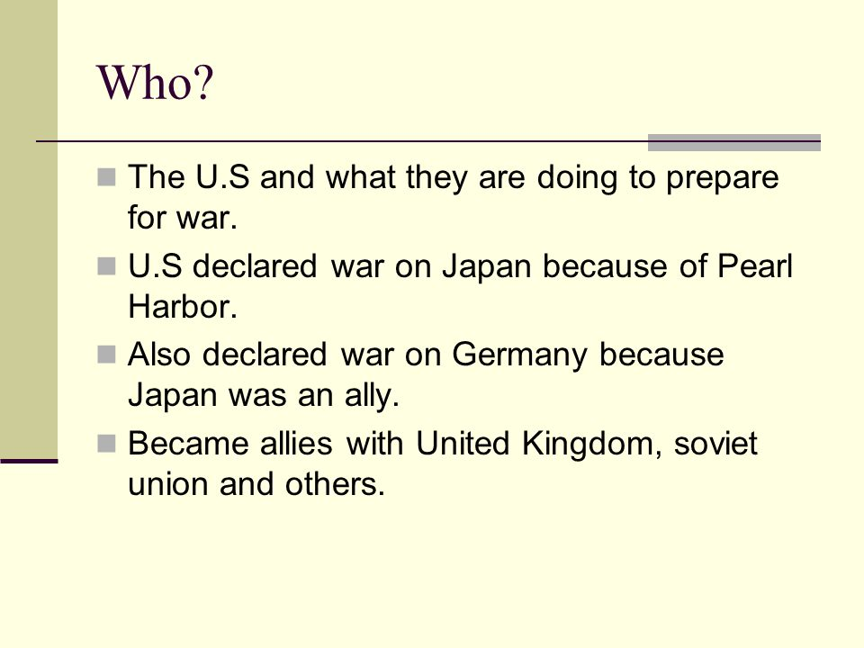 Who. The U.S and what they are doing to prepare for war.