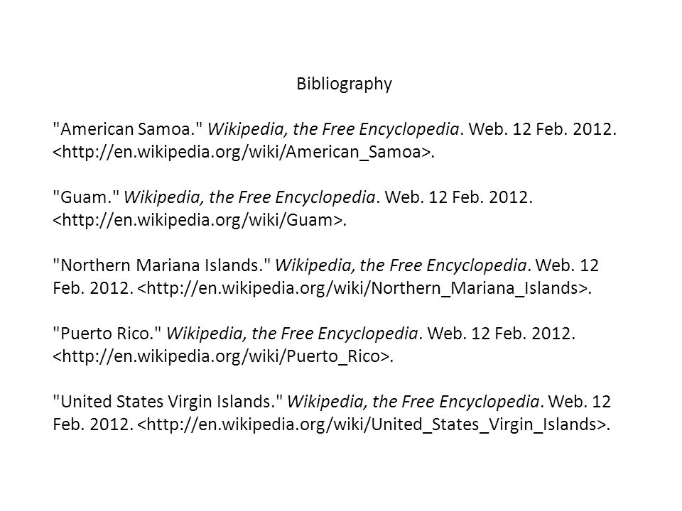 Bibliography American Samoa. Wikipedia, the Free Encyclopedia.