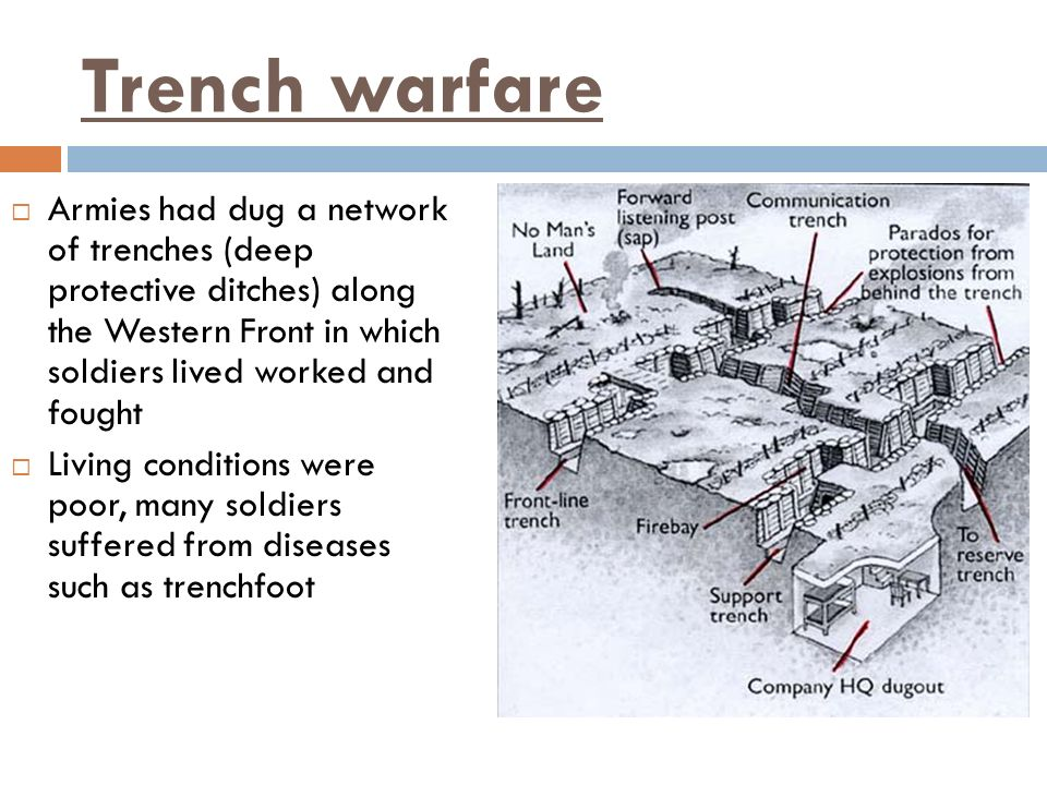 Trench warfare Armies had dug a network of trenches (deep protective ditches) along the Western Front in which soldiers lived worked and fought Living