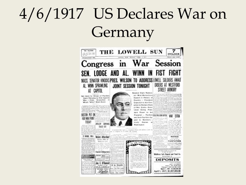 4/6/1917US Declares War on Germany