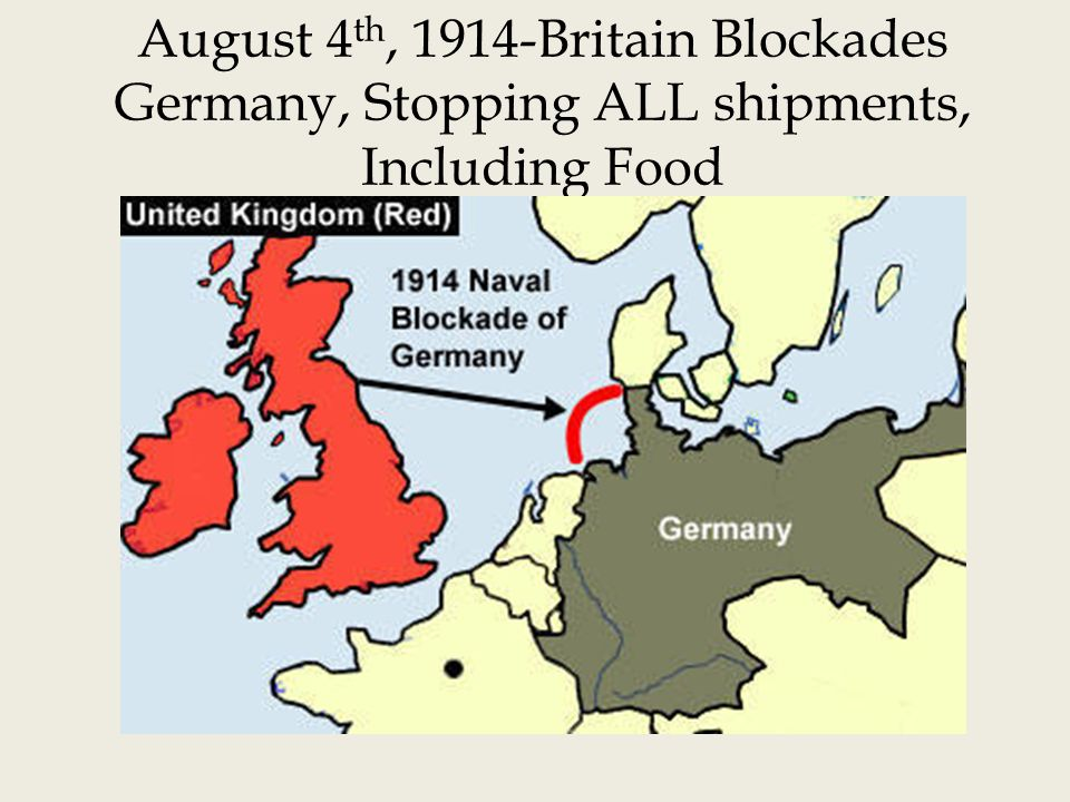 August 4 th, 1914-Britain Blockades Germany, Stopping ALL shipments, Including Food