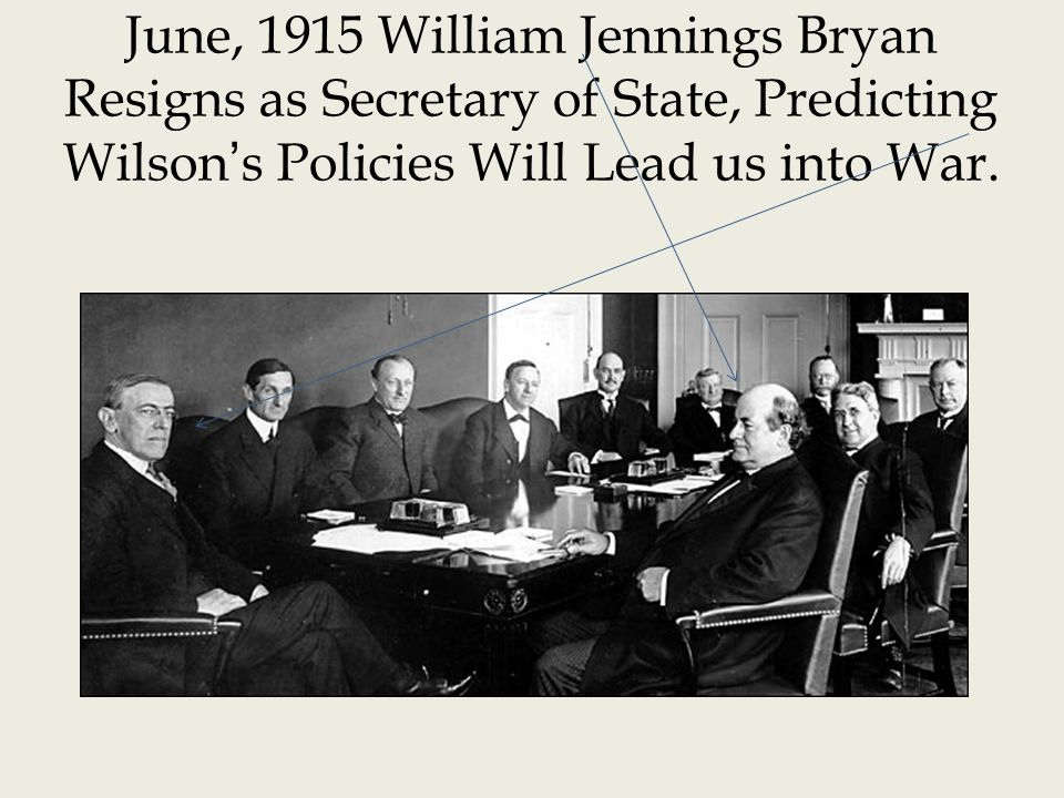 June, 1915 William Jennings Bryan Resigns as Secretary of State, Predicting Wilsons Policies Will Lead us into War.