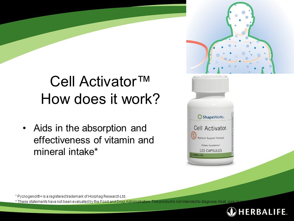Cell Activator How does it work? Aids in the absorption and effectiveness of vitamin and mineral intake* 1 Pycnogenol®+ is a registered trademark of H