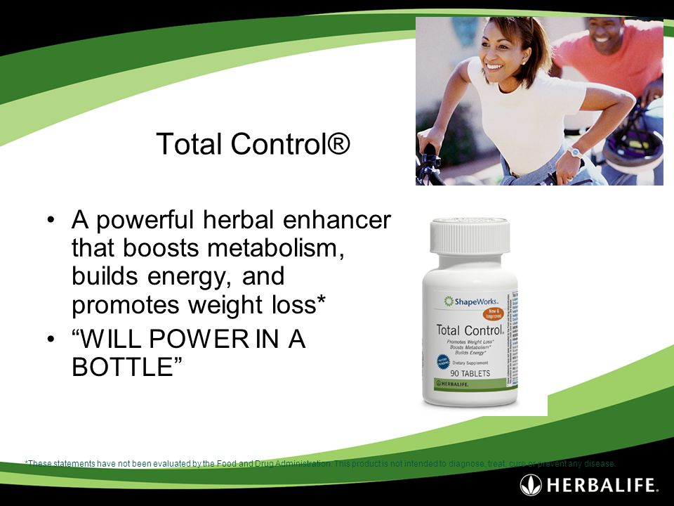 Total Control® A powerful herbal enhancer that boosts metabolism, builds energy, and promotes weight loss* WILL POWER IN A BOTTLE *These statements ha