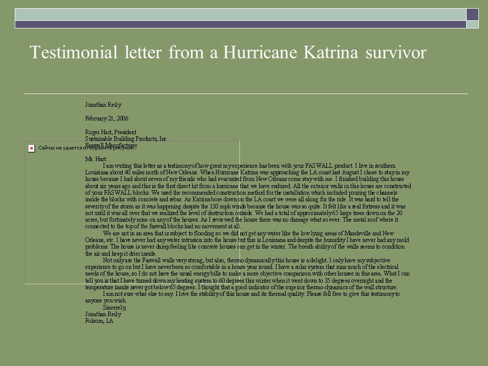 Testimonial letter from a Hurricane Katrina survivor