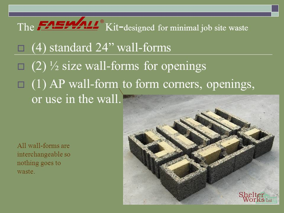 The Kit - designed for minimal job site waste (4) standard 24 wall-forms (2) ½ size wall-forms for openings (1) AP wall-form to form corners, openings