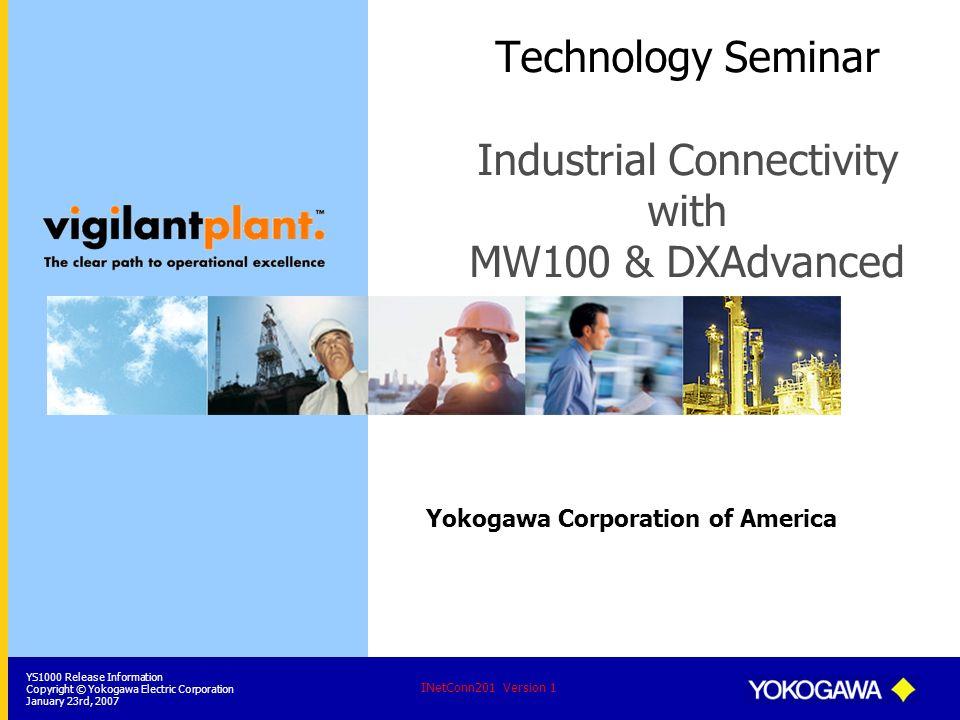 YS1000 Release Information Copyright © Yokogawa Electric Corporation January 23rd, 2007 INetConn201 Version 1 Yokogawa Corporation of America Technolo