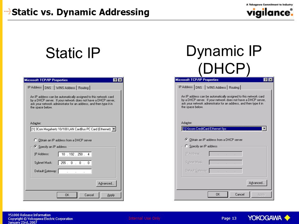 YS1000 Release Information Copyright © Yokogawa Electric Corporation January 23rd, 2007 Page 13 Internal Use Only Static IP Dynamic IP (DHCP) Static v