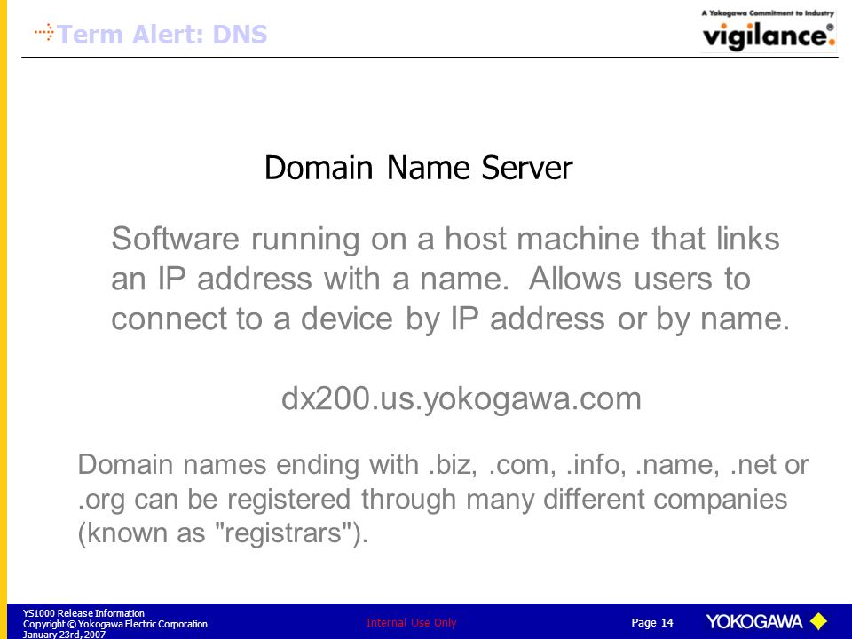 YS1000 Release Information Copyright © Yokogawa Electric Corporation January 23rd, 2007 Page 14 Internal Use Only Domain Name Server Software running