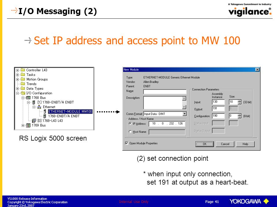 YS1000 Release Information Copyright © Yokogawa Electric Corporation January 23rd, 2007 Page 41 Internal Use Only I/O Messaging (2) Set IP address and