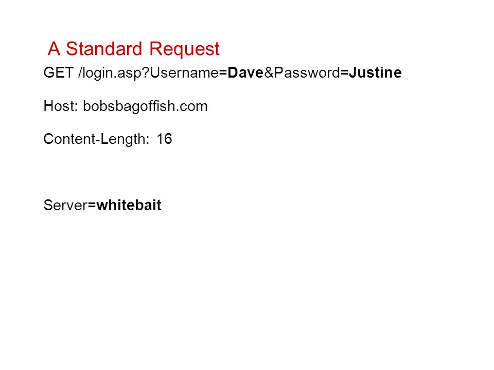 A Standard Request GET /login.asp?Username=Dave&Password=Justine Host: bobsbagoffish.com Content-Length: 16 Server=whitebait