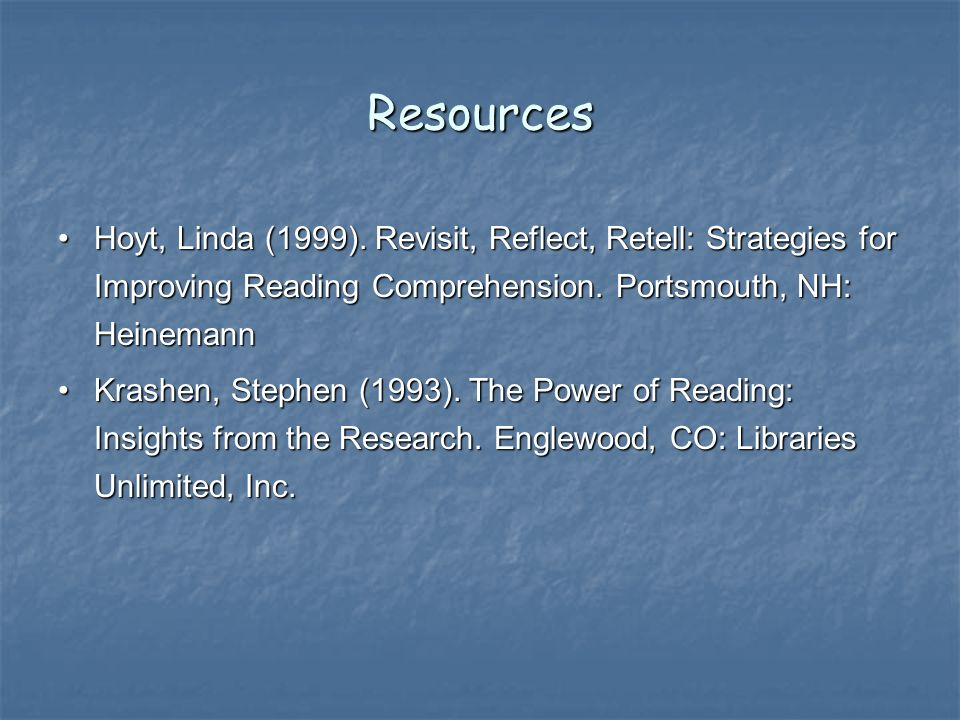 Resources Hoyt, Linda (1999).