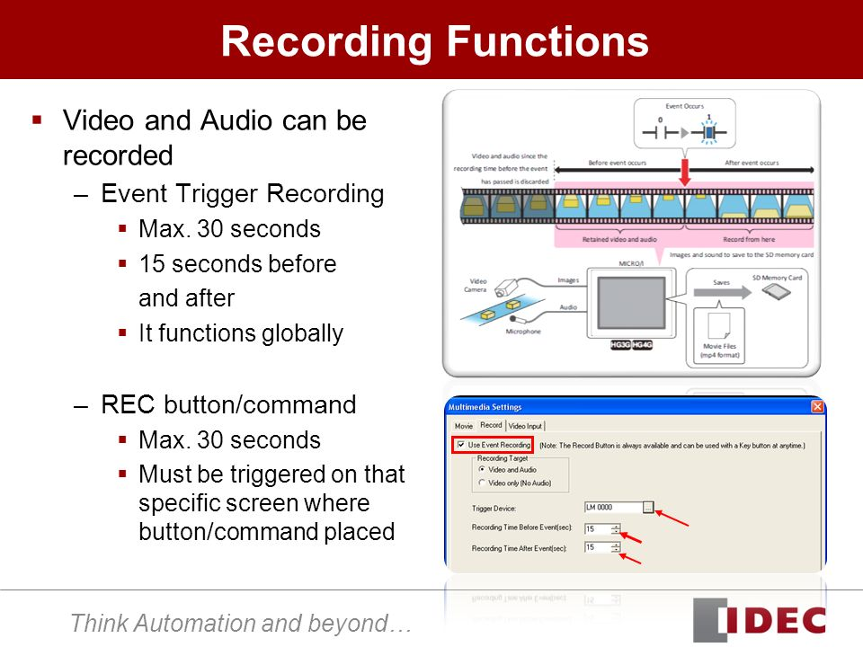 Think Automation and beyond… Recording Functions Video and Audio can be recorded –Event Trigger Recording Max. 30 seconds 15 seconds before and after