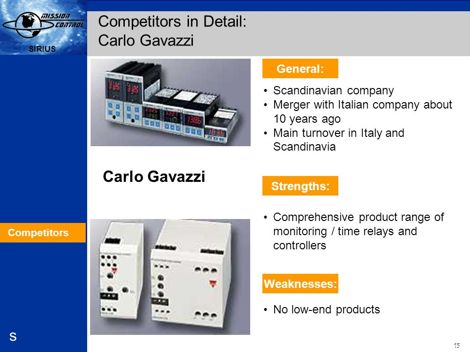 Automation and Drives s SIRIUS 15 SIRIUS s Carlo Gavazzi Scandinavian company Merger with Italian company about 10 years ago Main turnover in Italy an