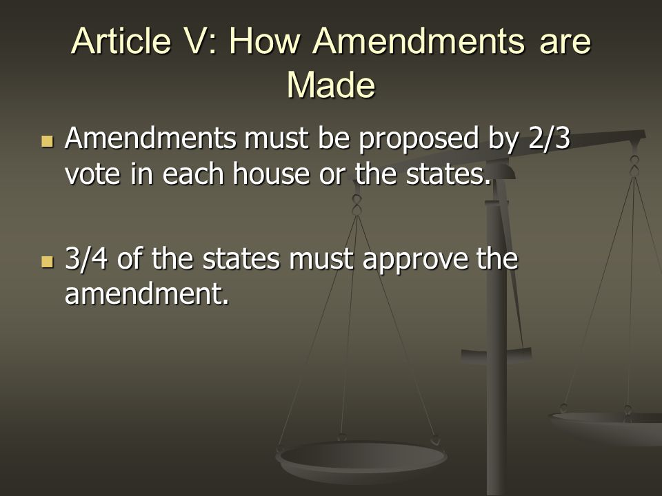 Article VI: General Provisions Supreme Law of the Land – the Constitution, US treaties, and federal laws overrule state laws when there is a conflict.