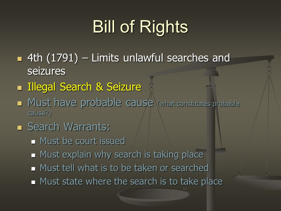Bill of Rights 5th (1791) – The right to due process of law 5th (1791) – The right to due process of law 5 Rights 5 Rights Grand Juries Grand Juries Is there enough evidence to hold a trial Is there enough evidence to hold a trial Double Jeopardy Double Jeopardy Prevents people from being tried twice for same crime.
