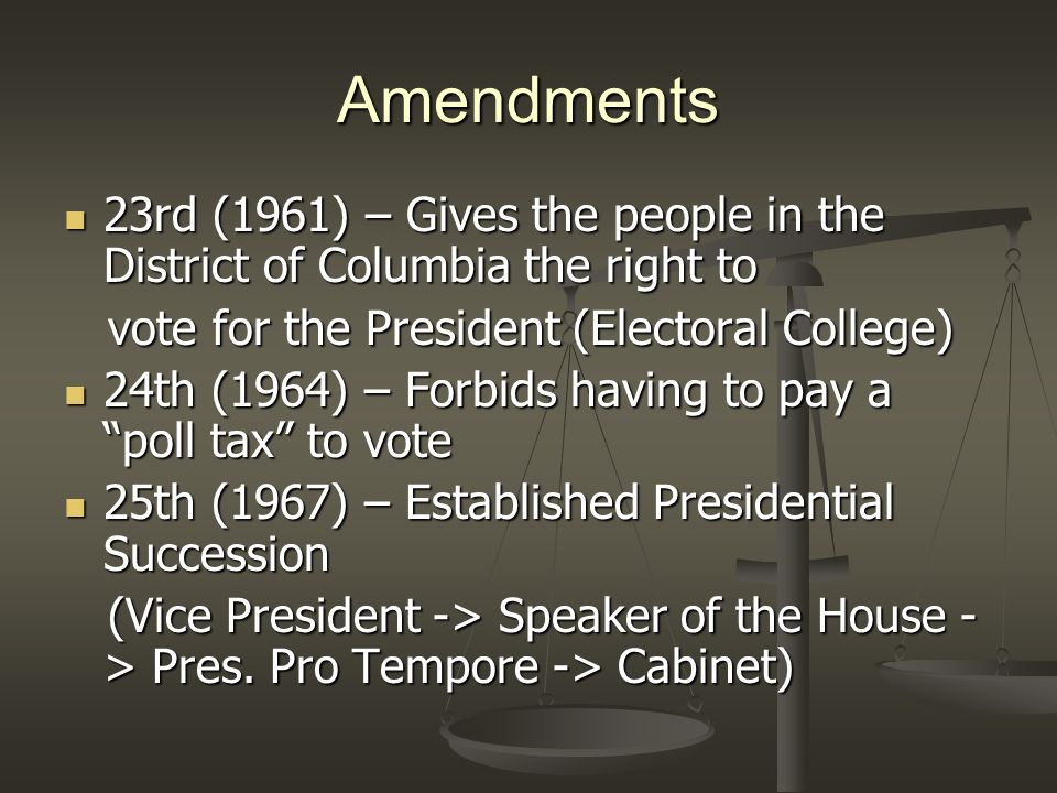 Amendments 26th (1971) – Sets the voting age at 18 years old 26th (1971) – Sets the voting age at 18 years old 27th (1992) – Prohibits midterm congressional pay raises 27th (1992) – Prohibits midterm congressional pay raises