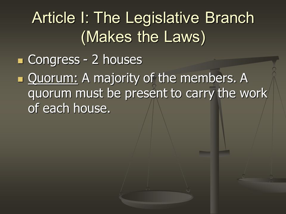 Article I: The Legislative Branch (Makes the Laws) House of Representatives House of Representatives 25 years old/ US Citizen for 7 years/ Resident of the state 25 years old/ US Citizen for 7 years/ Resident of the state 2 year term 2 year term Representation is based on population Representation is based on population Presiding officer is the Speaker (of the House) Presiding officer is the Speaker (of the House)