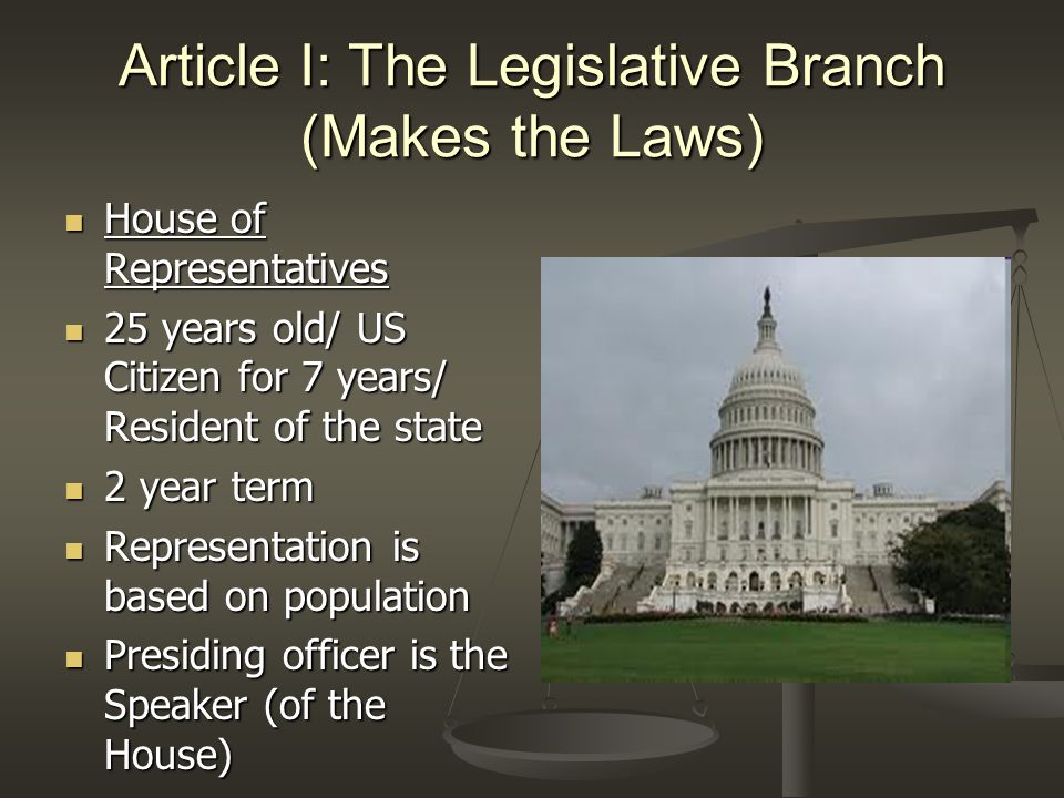 Article I: The Legislative Branch (Makes the Laws) Senate Senate 30 years old/ US Citizen for 9 years/ Resident of the State 30 years old/ US Citizen for 9 years/ Resident of the State 6 year term 6 year term 1/3 of the Senators are elected every 2 years 1/3 of the Senators are elected every 2 years Presiding Officer is the Vice President Presiding Officer is the Vice President President Pro Tempore serves when the VP is absent President Pro Tempore serves when the VP is absent