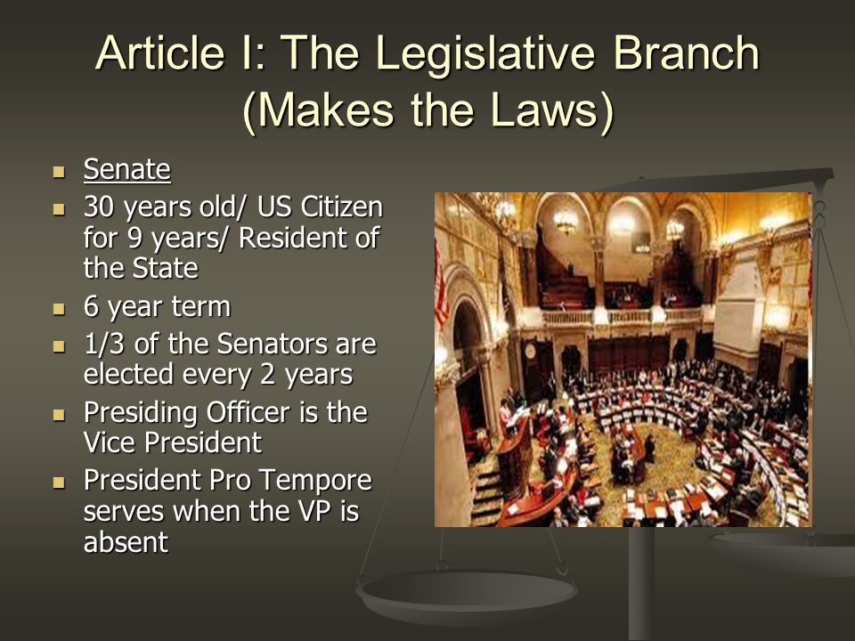 Article I: The Legislative Branch (Makes the Laws) Powers granted to Congress Powers granted to Congress (Delegated Powers) (Delegated Powers) 1) Establish and collect taxes 2) Borrow money 3) Regulate interstate and foreign trade 4) Establish naturalization laws 5) Coin money, set weights and measures 6) Establish punishment for counterfeiting 7) Establish post offices 8) Issue patents and copyrights