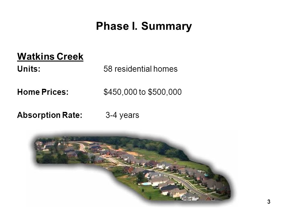 3 Phase I. Summary Watkins Creek Units:58 residential homes Home Prices:$450,000 to $500,000 Absorption Rate: 3-4 years