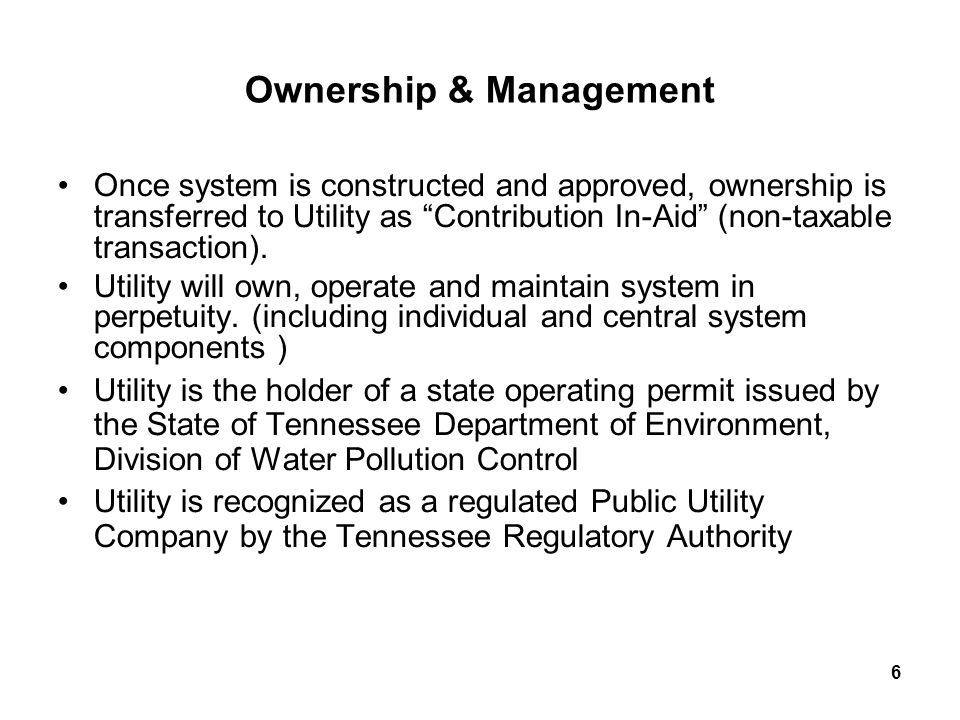 7 Developer Benefits Turn-key solution Greatly improved land utilization and lot yield Maximize development design flexibility Utility company assumes operational liability State of Tennessee monitors system performance and financial viability of Utility Ability to re-use treated effluent for community irrigation Proven technology