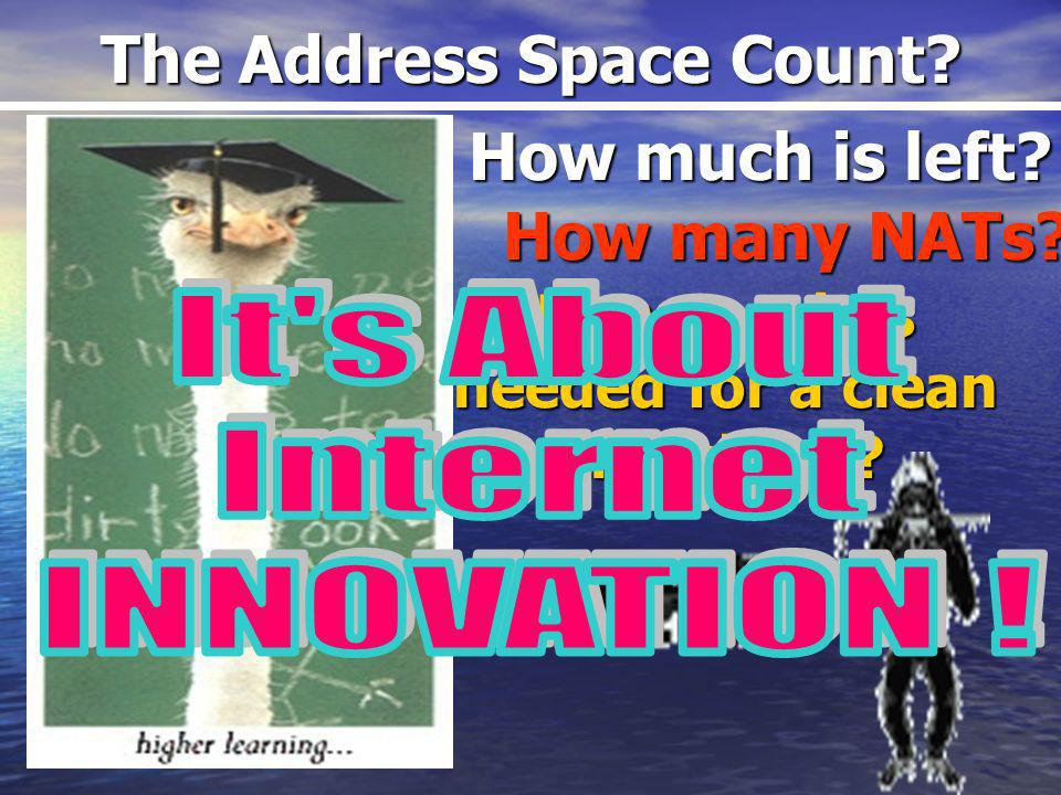 The Address Space Count. How much is left. How much is needed for a clean transition.